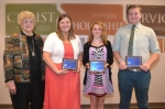 Carol Morehead (left) presents the Huntington Kiwanis Club's scholarships to (from left) Tosha Davis, Mackenzie Faurote and Jacob Allred. The awards were presented during a luncheon on Thursday, April 28.