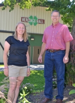 Janell Baute (left) and Pat Karst are members of a committee charged with guiding upkeep and improvements to the Huntington County Fairgrounds. Some of those improvements have included upgrades to Heritage Hall, including the addition of air conditioning, with a goal of drawing more rental business.