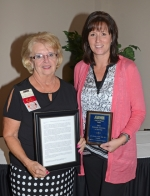 Juli Johnson (right), Parkview Huntington Hospital president, was named the Forks of the Wabash Chapter of the American Business Women's Association Business Associate of the Year on Wednesday night, May 18, at the group's 33rd annual Business Associate and Education Night at Huntington University. Marj Hiner (left) wrote the nomination letter.