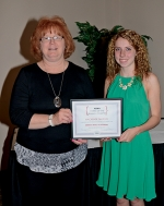 Huntington North High School valedictorian Mackenzie Faurote (right) was named winner of the Forks of the Wabash chapter of the American Business Women's Association Scholarship on Wednesday, May 18, at the group's 33rd annual Business Associate and Education Night at Huntington University. Joining her is Angie Rittenhouse, professional development chairman for the group. Scholarships were also awarded to Kayla Koch and Kathleen Jacobs.