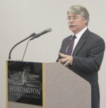 Indiana Attorney General Greg Zoeller speaks to members of the Huntington Optimist Club on Thursday, Feb. 25, at Huntington University. Zoeller reviewed consumer protection efforts of the Indiana Attorney General's Office.