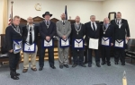 Amity Lodge 483 Free & Accepted Masons of Indiana's new officers are (from left) Mark Johnston, Justin Wall, Matthew Doss, Mike Nightengale, Zac Carpenter, Ed Hershberger, Vern Neel and Robb Fultz. They were installed on Dec. 28, with Doss named worshipful master.