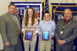 Riverview Middle School eighth-graders Larissa Johnson and Ben Warpup (second and third from left, respectively) were recognized by Huntington Metro Kiwanis after being selected by the school's staff for their individual accomplishments.