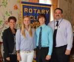 Jessica Drew (second from left) and Sam Harold (third from left) have been named Junior Rotarians by the Huntington Rotary Club for April. With them are their Rotary Club sponsors, Nicole Johnson (left) and Chuck Grable.
