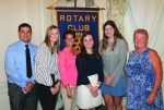 Morgan Robrock (second from left), Maitlyn Christman (fourth from left) and Taylor Reust (fifth from left) are the Huntington Rotary Club's Junior Rotarians for April. With them are Rotary Club sponsors Chad Daugherty (left), Nicole Johnson (third from left) and Rosie Wall.