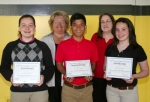 Three Huntington Catholic School eighth-grade students received the Artist of the Month Award on Tuesday, May 13, from the LaFontaine Arts Council for their achievements in the arts.