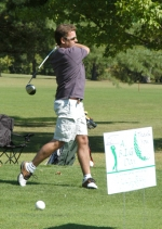 Christopher Camp tees off at the start of the A B.I.G. Day Golf Outing Wednesday, Sept. 16, at LaFontaine Golf Club.