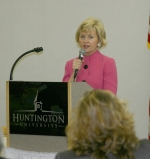 "Lt. Gov. Becky Skillman addresses the ""Advancing Hoosier Women in Business"" seminar on July 7 at Huntington University's Habecker Dining Commons. Skillman spoke about Indiana's economy."