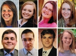 Pictured top row (from left) Pagie Coolman, Johnna Cummins, Kaitlyn Drayer and Kaitlin Jones; and bottom row (from left) Austin Rosen, Connor Sabinske, Spencer Sharpe and Sophia Smekens.