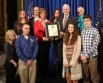 Representatives of Bolinger's Propane Service were in Indianapolis on April 22 to receive the Governor's Half-Century Business Award from Gov. Mike Pence. Joining in the celebration are (front row, from left) Miranda Bolinger, Brandon Bolinger, Olivia Bolinger and Carson Bolinger; (middle row, from left) Gina Canady, Pence and Mike Bolinger; and (back row, from left) Madi Canady, Scott Canady and Rita Bolinger.