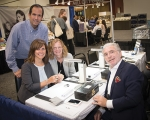 Bowers Jewelers staff (from left) Rob Paolillo, Jolene Paolillo and Penny Cuttriss visit with Asher Lubelsky at the Fischler Diamonds Booth during the 2018 Retail Jewelers Organization Summer Buying Show in Minneapolis, MN.