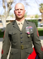 Marine Staff Sgt. Joshua Brodrick, of Huntington, wears his Bronze Star Medal with combat V awarded Feb. 18, at the Marine Corps Air Ground Combat Center in Twentynine Palms, CA.