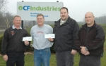 Accepting donations from CF Industries Huntington superintendent Brad Gordon (second from left) are (from left) Huntington Fire Chief Matt Armstrong, Huntington County Emergency Management Director Brandon Taylor and his assistant director Brian Topp.