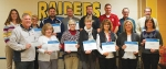 Brad Gordon (front row, left), superintendent of CF Industries' Huntington Terminal, presents Classroom Minigrants to Huntington County teachers (front, from left) Jill Spenner, Lisa Nightingale, Lisa Geller, Marta Waldfogel, Brandi Cross and Patty Jacobs; and (back, from left) Heather Hiple, Cari Whicker, Bill Bostain, Blake Childs, Sam Ryan, Mike Beaver, Les Hoffman and Sam Wright.