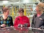 Continental Structural Plastics' new Huntington Plant Manager, Karen Williams (left) discusses production with Shelly Pressler, quality auditor, and Marcy Strange, production supervisor, both of the Huntington plant. Williams is the first female plant manager of the company.