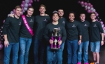 Willy Macedo (front) was named 2017 Big Man on Campus in a Trine University fund-raiser for the Vera Bradley Foundation for Breast Cancer. Additional participants were (back, from left) Cody Reer, Adam Miller,  Jeff Bowman, Warren resident and third place finisher Braydon Poulson, O'Shea Owens, Warren resident and second place finisher Cam Buzzard and Victor Riedman.