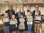The winners of the Huntington County Shrine Club's Shrine Essay Contest are (front row from left) Mia Halverstadt, third-grader at Andrews Elementary; Caelynn Baker, third-grader at Lincoln Elementary; Landrie Scheiber, third-grader at Horace Mann Elementary; Alyssa Marz, fourth-grader at Andrews Elementary; and Logan Walter, fourth-grader at Andrews Elementary; and (back row from left) Shriners Jeff Baumgardner, secretary;  Steven McNally, president, Huntington club; Hapzim Shrine Circus Chairman Jim Wall; and Geoffrey Guy. Not pictured is Sophia Mason, fourth-grader at Horace Mann Elementary.