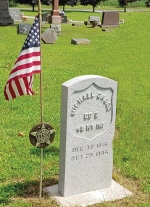 The new headstone marking Civil War veteran Michael Gross' grave was installed with a ceremony attended by his third great-granddaughter, Stacey Branstrator Law, of Roanoke, and members of her family on July 28, in Burr Oak, MI.