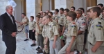 Sen. Dan Coats (R-IN) teaches citizenship to the scouts of Boy Scout Troop 130 during their tour in Washington, D.C.