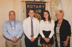 Aidan Hosler (second from left) and Daphnee Landrum (third from left) are the Huntington Rotary Club's Junior Rotarians for December. With them are club sponsors Bill Miller (left) and Chris Sands.