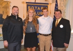 Karmen Koch (second from left) and Sam Poling (third from left) are the Huntington Rotary Club's Junior Rotarians for December. With them are Rotary Club sponsors Adam Drummond (left) and Mark Wickersham.