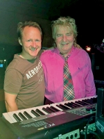 The Dueling Keyboard Guys — Paul New Stewart (right) and Brian Frushour — will be joined by vocalist Julie Hadaway in a concert benefitting the Roanoke Lions Club on Aug. 26 at the Cottage Event Center, in Roanoke.