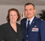 Former Huntington resident Lt. Col. Norman Eckert (right) recently retired from the United States Air Force after nearly 30 years of service. Also pictured is his wife, Kathy Okuly Eckert. Both are graduates of Huntington Catholic High School.