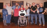 Veterans of Foreign Wars Post 2689, in Huntington, and the Huntington County Sheriff's Department are partnering to hold a benefit for Huntington native Dalton Emley. Emley sustained injuries in a car accident in January that left him paralyzed from the waist down. The benefit will be held Saturday, April 27, at Post 2689 from 4:30 p.m. to midnight. Pictured are (front row from left) Gloria Holzinger, Emley's grandmother; Jim Kneller, president, VFW Auxiliary Indiana Fifth District; Daisha Barnes, Emley's mother; Emley; Karen Wehr, lead vocalist, Wehr Rock of Elders, which will be performing at the benefit; Chuck Kuschel, commander, Post 2689; and Alan McCurdy, guitarist, Wehr Rock of Elders; and (back row from left) James Helvie, guitarist, Bob Manginelli, drummer and Mike Bartholomew, bassist, all Wehr Rock of Elders; and Steve Garwood, cook, Post 2689.