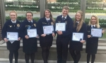 Huntington North FFA members were honored with Hoosier degrees during the recent Indiana FFA state convention. They are (from left) Cora Hill, Kaitlyn Drayer, Autumn Taylor, Lane Whitted, Courtney Coffman and Emma Landrum.