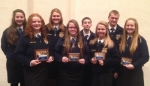 Members of the Huntington North High School FFA show off the awards they won in the District 6 FFA Leadership Contest. They are (first row, from left) Cora Hill, Leah Kitchen, Emma Landrum and Courtney Coffman; and (back row, from left) Leah Ann Trickle, Maddie Houser, Brandon Briggs and Lane Whitted.
