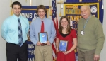 Danny Becker (second from left) and Carley McElhaney (third from left) have been named Outstanding Eighth Graders by the Huntington Metro Kiwanis Club. With them are Crestview Middle School Principal Chad Daugherty (left) and Kiwanian Martin Young.