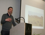 Speaker Mark Schatzker explains how the world's food productivity has increased while flavor and quality have taken a nosedive during the Feed a Farmer Luncheon Wednesday, March 25, at Huntington University.