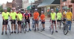 """Bicyclists (from left) Jason Crago, Chris Bucher, Eric Bucher, Nick Hancock, David Lloyd, Jan Lloyd, Mark Timbers, Lee Ann Kline, Rex Kline and Ronald Miller are among the participants in """"Fun and Fitness Rides"""" being held every Monday."""