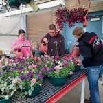 Huntington North High School students (from left to right) Brianna Mason, Andrew Laymon and Lane Whitted care for some of the plants in the HNHS greenhouse that will be available for sale now through May 29.