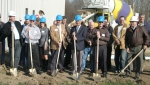 Fogwell Manufacturing Company officials and Huntington officials turn dirt at a groundbreaking ceremony for the company on Thursday, Nov. 5.
