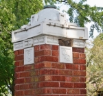 Pictured is one of a number of pillars marking the boundaries of Huntington's Hawley Heights neighborhood. The Hawley Heights Neighborhood Alliance is holding a garage sale to raise funds for the restoration of the pillars on Friday, Aug. 16, and Saturday, Aug. 17, at 332 Edith Blvd., Huntington, from 8 a.m. to 2 p.m.