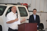 Huntington Township Volunteer Fire Department Paul VonBank addresses guests at a dedication ceremony for the new fire department on Saturday, April 16. At right is State Sen. Jim Banks, who provided the morning's keynote address.