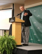 "Bryan Kirkpatrick, author of ""Faith and the Farm: God, Family and Life in America's Heartland,"" speaks to guests at the Haupert Institute for Agricultural Studies Harvest Celebration and Auction held Nov. 10, at Huntington University. The auction raised more than $100,000 for the institute."