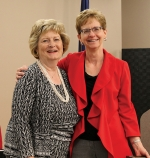 Huntington University President Dr. Sherilyn Emberton (left) congratulates Connie Bonner, the university's controller and director of financial services, on her selection as Staff Member of the Year.