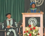 Dr. Herma B. Williams speaks to the Huntington University 2010 graduating class during her commencement address, on Saturday, May 15, as University President G. Blair Dowden looks on.