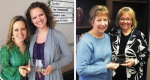April Huntington University Peer Award recipient Danielle Shafer (pictured at right, photo on left) is recognized by Melissa Laraway. Peer Award recipient Cindy Geders (pictured at right, photo on right) is recognized by Barb Baker.
