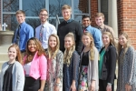 The Huntington University Front Line Foresters for the 2018-19 school year are (front row from left) Bailey Testerman, Adrianna McNab, Molly Mitchell, Abigail Matovich, Matéa Knispel, Kathleen Morrical and Bailey O'Dell; and (back row from left) Stephen Brown, Travis Rippe, Jacob Hansen, Jaron Dean and Brad Buckley. The group represents the student body to alumni, family and friends of the university.