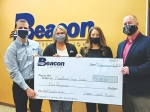 Beacon Credit Union recently made a $5,000 donation to the Heartland Adult Education Career Center. Featured, from left, are North Manchester Manager Nathan Zeller, Wabash Wedcore Avenue Manager, Wabash Miami Street. Manager and Heartland Career Center Director Mark Hobbs.