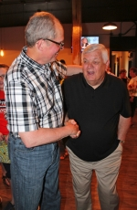 Incumbent councilmen Charles Chapman (left) and Jack Slusser celebrate after final vote totals in the May 5 primary were announced during a gathering at The Berg Ale Haus. Both men fended off challengers to win Republican nominations to run again for their seats on the Huntington Common Council.