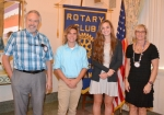 J.J. Whicker (second from left) and Rileigh Johnson (third from left) are the Huntington Rotary Club's Junior Rotarians for January. With them are Rotary Club sponsors Chuck Homier (left) and Kay Schwob.