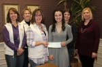 The employees of DeLaney Hartburg Roth and Garrott LLP, in Huntington, donate $175 to Emily Johnson (fourth from left) of Blessings in a Backpack on Friday, Jan. 13. Pictured (from left) are Lisa Kline, Janice Bir, Jody Hanson, Johnson, Christina Yoder and Beth Rittenhouse.