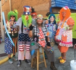 """The Joy Pleasers Clown Ministry is looking for people interested in joining them in spreading laughter and cheer. Pictured are (from left) Johanna Lange, aka """"Lullabye""""; Mark Bickel, aka """"Ba-Lue""""; Susan Miller, aka """"Piper""""; Roger Carroll, aka """"Gramps""""; April Reed, aka """"Bonnie Blue Bonnet""""; and Linda Carroll, aka """"Jelly Bean."""""""
