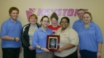 Members of the Keystone Club, part of the Huntington County Boys and Girls Club, show off the 2008-09 National Award for Community Service on March 25 that the club received at the Keystone National Convention in Pittsburgh, PA, on March 12-14.
