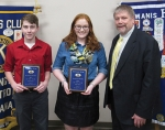 Riverview Middle School Principal Curt Crago (right) introduces the school's outstanding eighth graders, Matthew Schnepp (left) and Maggie Park, during a meeting of the Huntington Metro Kiwanis Club.