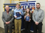 The Huntington Metro Kiwanis Outstanding Eighth Graders from Huntington Catholic School are Seth Scheiber and Grace Bryant.  Celebrating the occasion are (from left) Jim Dinius, past Kiwanis lieutenant governor; Scheiber, Bryant and Derek Boone, principal at Huntington Catholic.